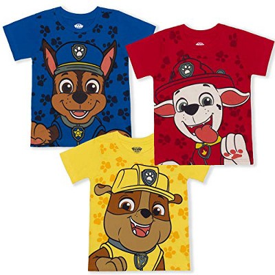 Nickelodeon Boy's 3-Pack Chase, Rubble and Marshall Paw Patrol Short Sleeve Graphic Tees for Toddlers