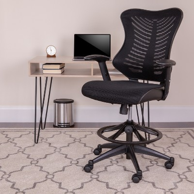 Flash Furniture High Back Designer Black Mesh Drafting Chair with LeatherSoft Sides and Adjustable Arms