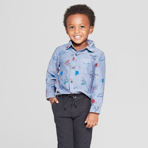 Toddler Boys' Long Sleeve Dinosaur Print Shirt - Cat & Jack™ Blue 12M - image 1 of 3