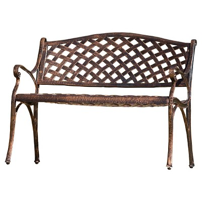 Cozumel Cast Aluminum Patio Bench - Antique Copper - Christopher Knight Home