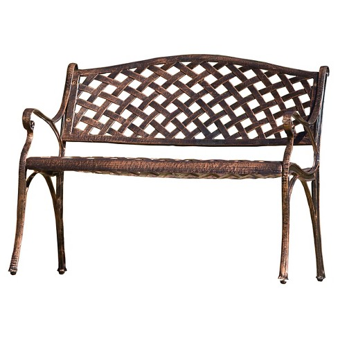 Cozumel Cast Aluminum Patio Bench - Antique Copper - Christopher Knight Home - image 1 of 4