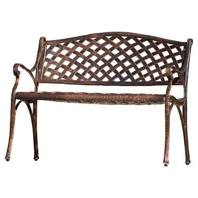 Cozumel Cast Aluminum Patio Bench   Antique Copper   Christopher Knight Home