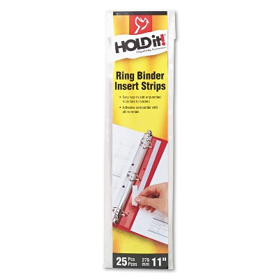 Cardinal HOLD IT Binder Insert Strips 3/4 x 11 Self-Adhesive Punched Clear 25/Pack 21110