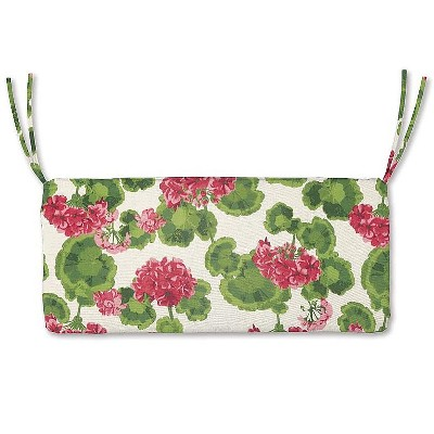 """Plow & Hearth - Polyester Classic Outdoor Swing / Bench Cushion, 54""""x 18.5""""x 3"""", Geranium"""