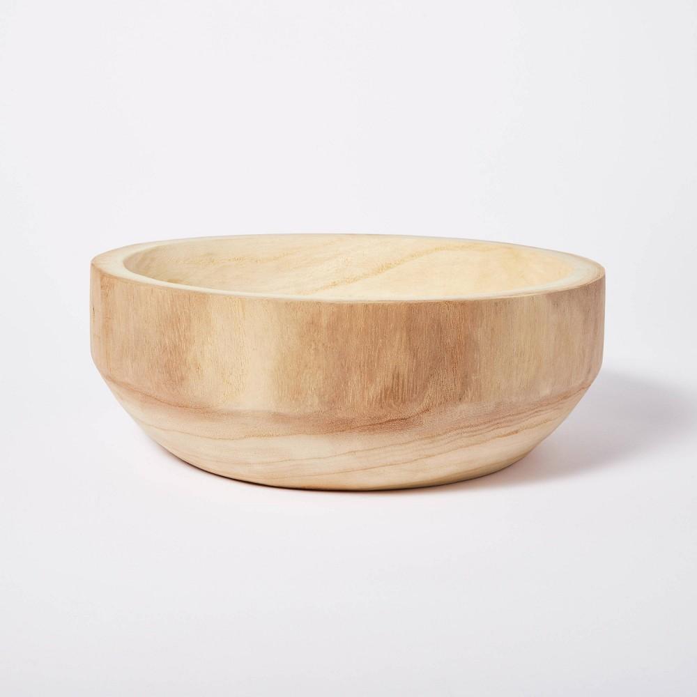 "Cheap 12"" x 4"" Decorative Paulownia Wood Bowl Beige - Threshold™ designed with Studio McGee"