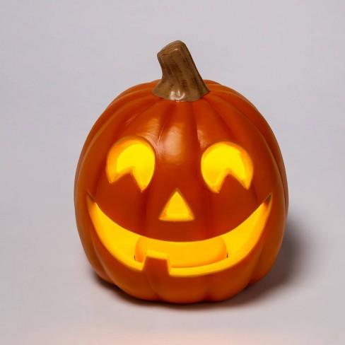 "9"" Light Up Orange Happy Face Halloween Jack-O'-Lantern (1 Tooth) - Hyde & EEK! Boutique™ - image 1 of 3"