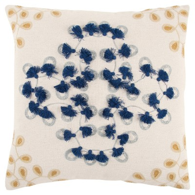 """20""""x20"""" Medallion Polyester Filled Pillow Blue - Rizzy Home"""