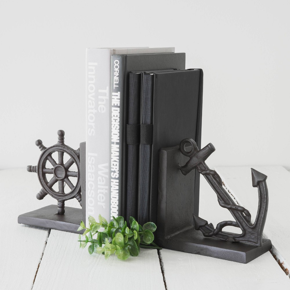 "Image of ""6"""" x 5"""" 2pc Iron Nautical Bookend Set Brown - Danya B., Gray"""