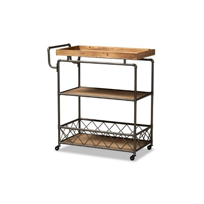 3 Tier Amado Rustic Industrial Farmhouse Wood and Metal Mobile Kitchen Cart Brown/Black - Baxton Studio