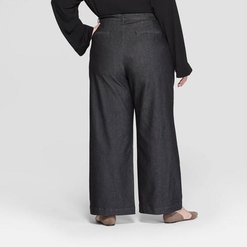 a9d99cac76f Women s Plus Size Mid-Rise Pleat Front Wide Leg Trouser - Prologue™ Black