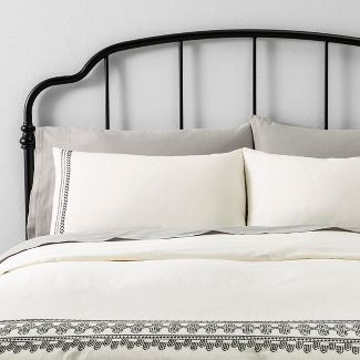 King Duvet Cover Set Embroidered Gray - Hearth & Hand™ with Magnolia