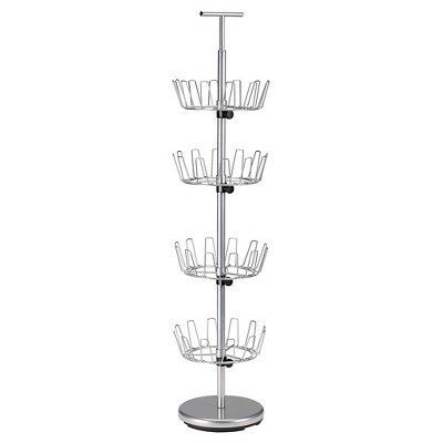 Household Essentials - 4-Tier Revolving Shoe Tree - 24 Pairs - Satin Silver