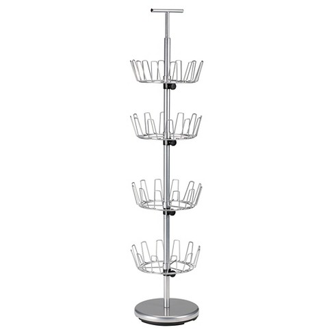 Household Essentials - 4-Tier Revolving Shoe Tree - 24 Pairs - Satin Silver - image 1 of 2