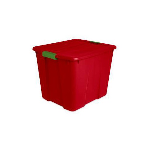 Sterilite 20gal Latching Tote Red with Green Latch - image 1 of 4