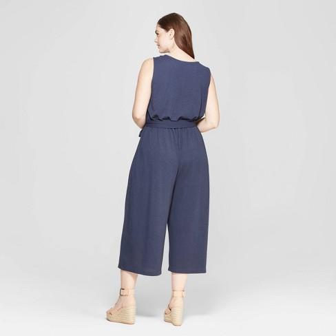 1eb43f4b921b Women s Plus Size Sleeveless V-Neck Jumpsuit - Universal Thread™ Navy    Target