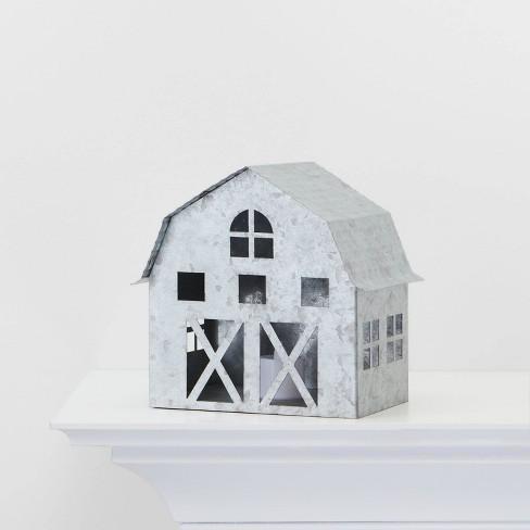 Galvanized Barn Decorative Lit Figurine Silver - Wondershop™ - image 1 of 2
