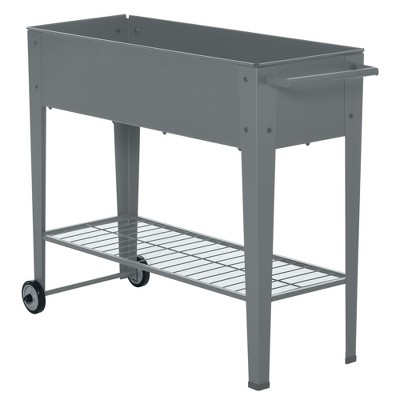 """Outsunny 41"""" x 15"""" x 32"""" Raised Garden Bed Elevated with 2 Wheels, Bottom Shelf for Storing Tools, & Water Drainage Hole"""