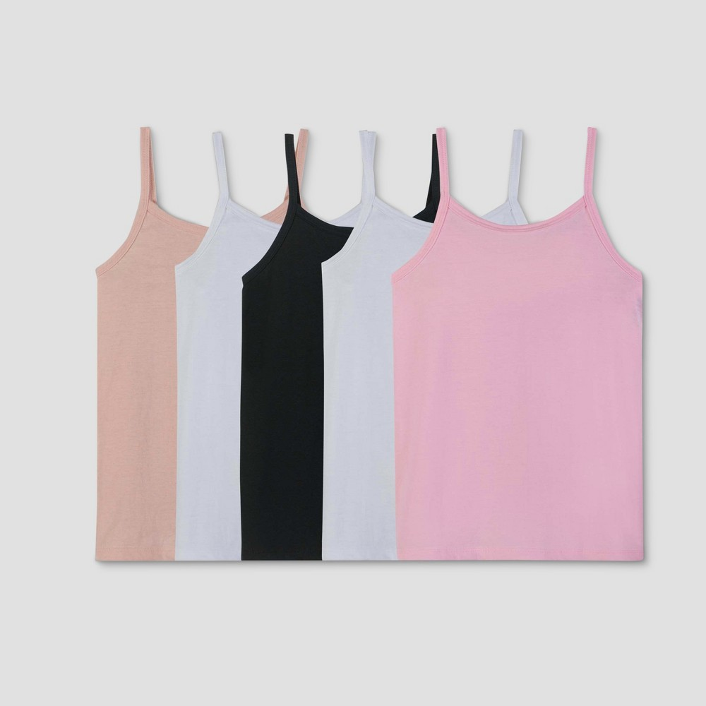 Fruit of the Loom Girls' 5pk Neutral Camisoles - M, Multicolored