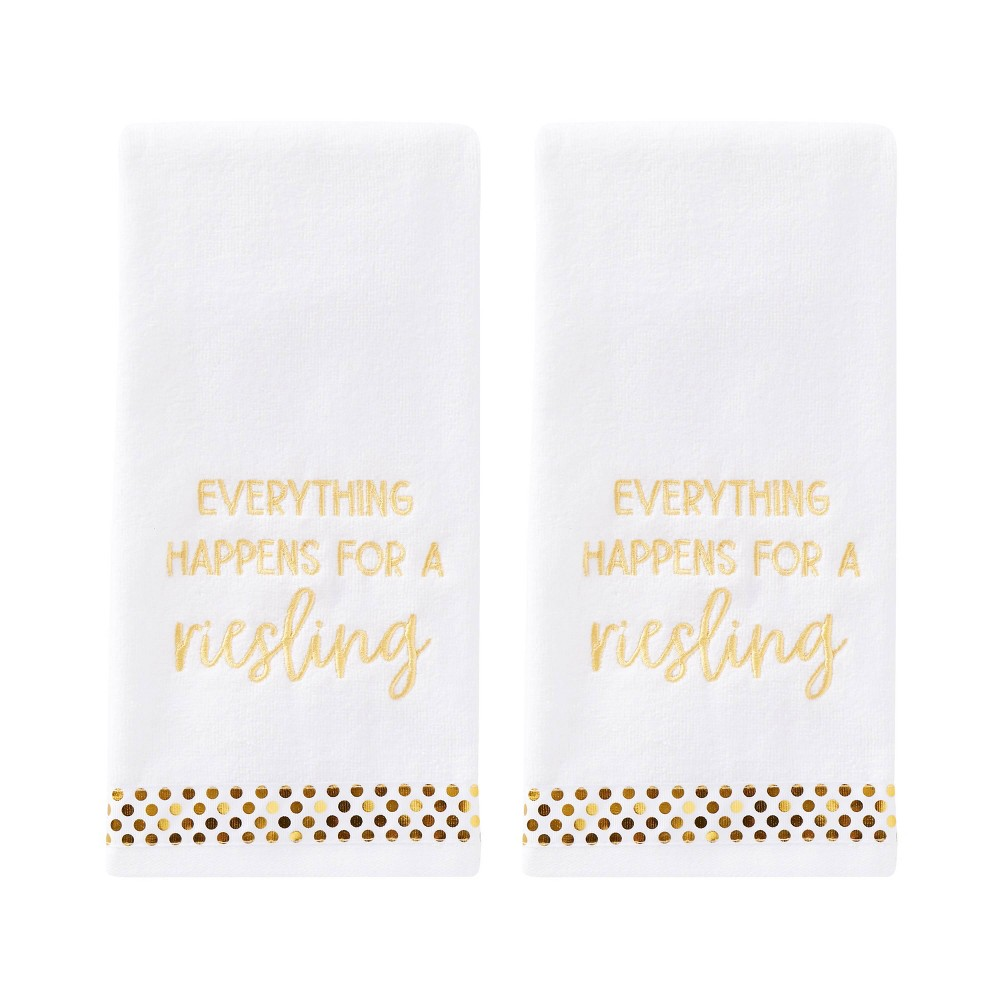 Image of 2pc Everything Happens Hand Towel Set White - SKL Home