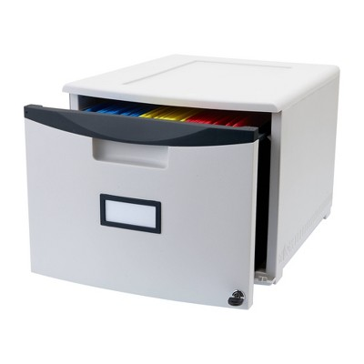 Storex Stackable Filing Drawer with Lock Legal/Letter Size - White
