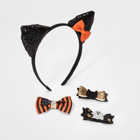 Baby Girls' 4pk Halloween Accessory Set - Cat & Jack™ Black - image 1 of 2
