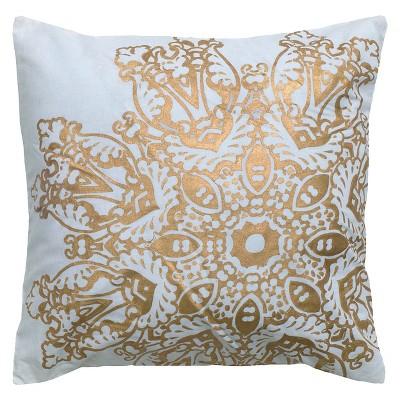 """18""""x18"""" Metallic Medallion Textured Throw Pillow Gold - Rizzy Home"""