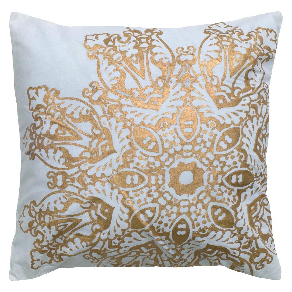 "Image of ""Gold Metallic Medallion Textured Throw Pillow (18""""x18"""") - Rizzy Home"""
