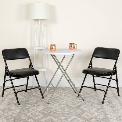 Riverstone Furniture Collection Vinyl Folding Chair Black