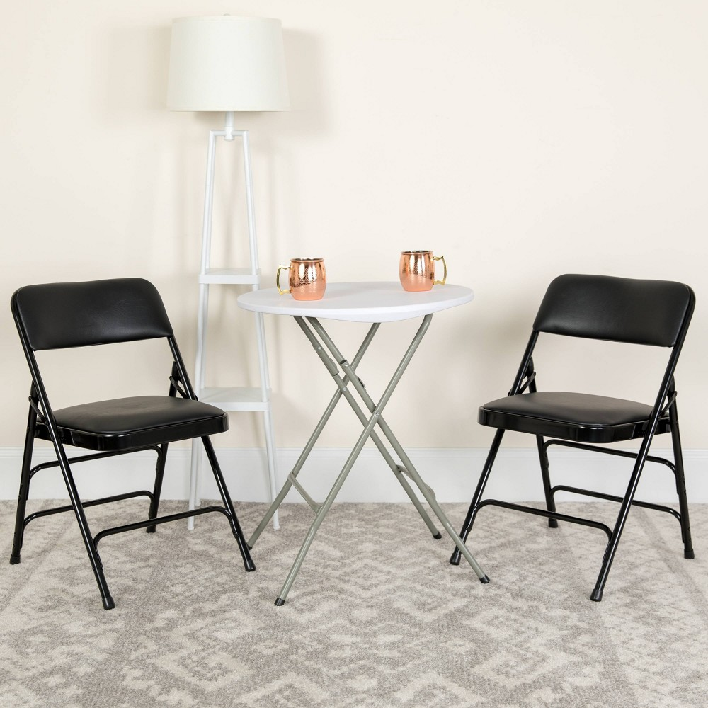 Riverstone Furniture Collection Vinyl Folding Chair Black
