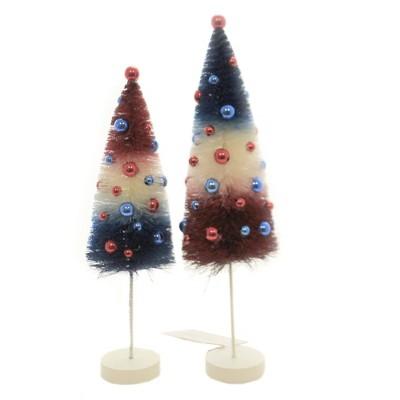 "Patriotic 11.0"" Americana Rocket Bottle Brush St/2 Red Cream Blue Trees  -  Decorative Figurines"