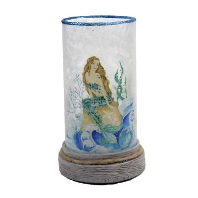 "Stony Creek 8.25"" Sitting Mermaid Hurricane Lit Pre Lit Resin Base  -  Novelty Sculpture Lights"