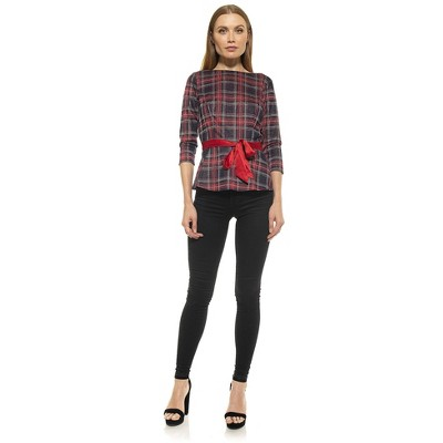 "Alexia Admor Nostalgic Plaid Peplum 3/4"" Sleeve Top"