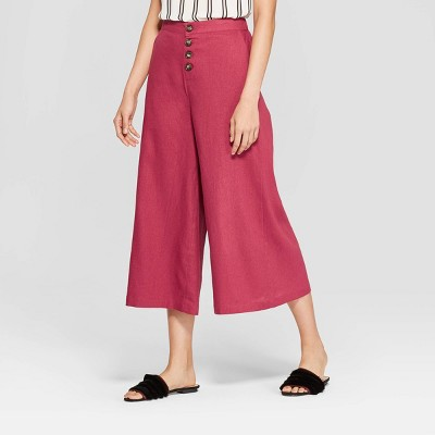 Women's Button Front Wide Leg Palazzo Pants   Who What Wear by Who What Wear