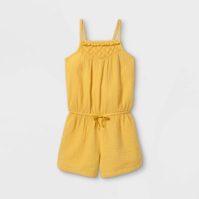 Girls' Eyelet Sleeveless Romper - Cat & Jack™ Light Mustard