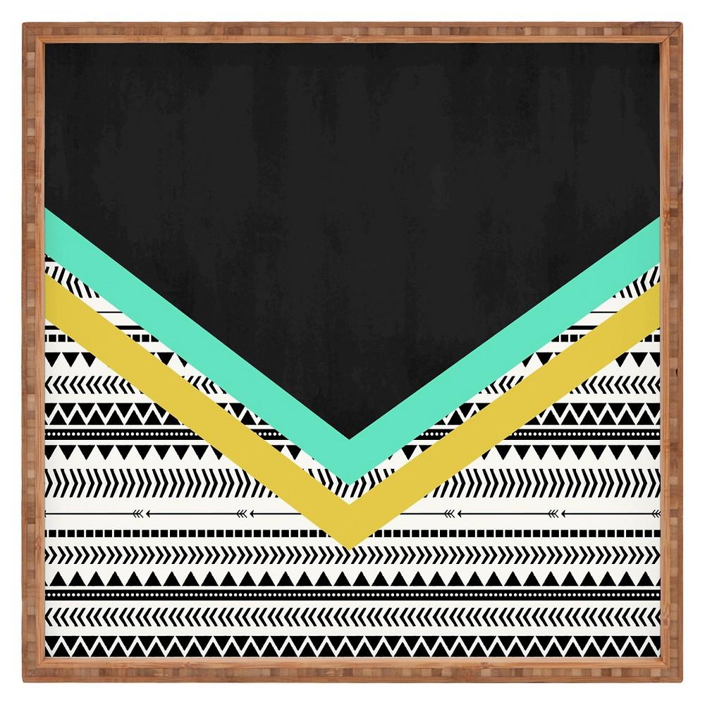 Allyson Johnson Mixed Aztec 1 Square Tray - Black - Deny Designs