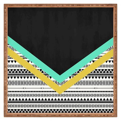Allyson Johnson Mixed Aztec 1 Square Tray - Black - Deny Designs® - image 1 of 1