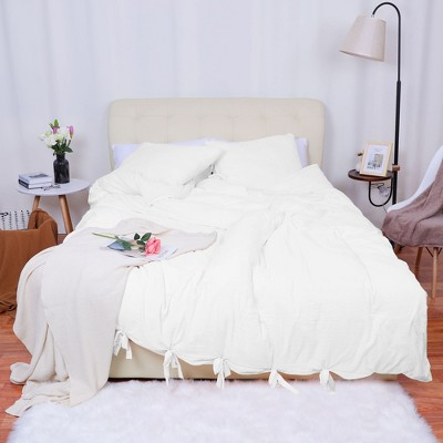 3 Pcs Washed Cotton Solid with Bowknot Closure Design Bedding Sets Queen White - PiccoCasa