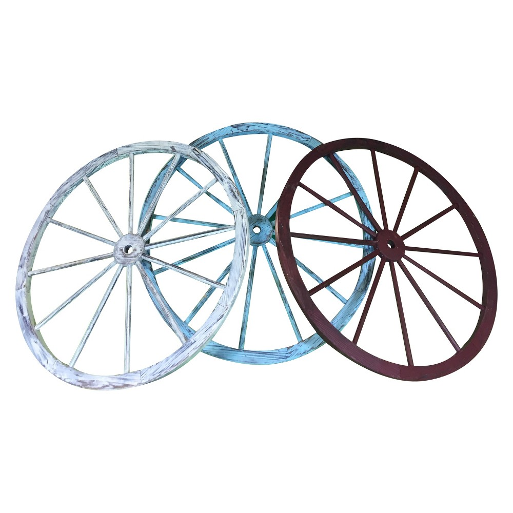 "Image of ""30"""" Wood Freestanding Wagon Wheels Lawn - 3pk Red/White/Blue - Backyard Expressions, White Red Blue"""