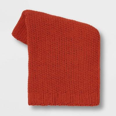 Solid Chenille Knit Throw Blanket Orange - Threshold™