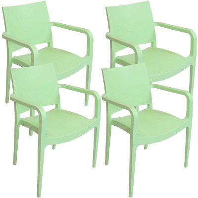 Sunnydaze Plastic All-Weather Commercial-Grade Landon Indoor/Outdoor Patio Dining Arm Chair, Light Green, 4pk