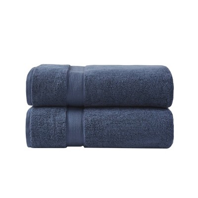 2pc Cotton Bath Sheet Set Dark Blue
