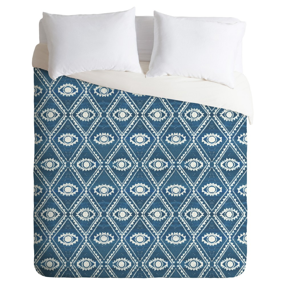 Blue Dash and Ash Eyes and Skys Duvet Cover Set (Queen) - Deny Designs