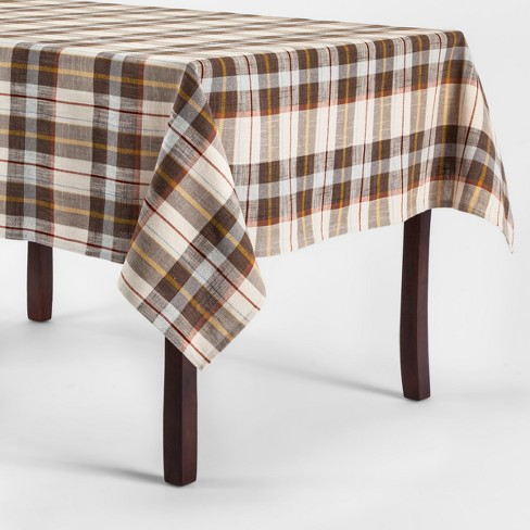 Plaid Tablecloth Brown/Cream - Threshold™ - image 1 of 1