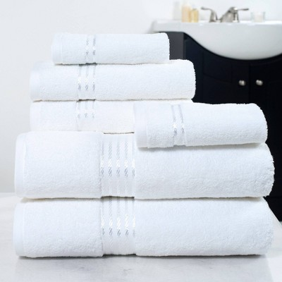 6pc Cotton Hotel Bath Towels Set White - Yorkshire Home