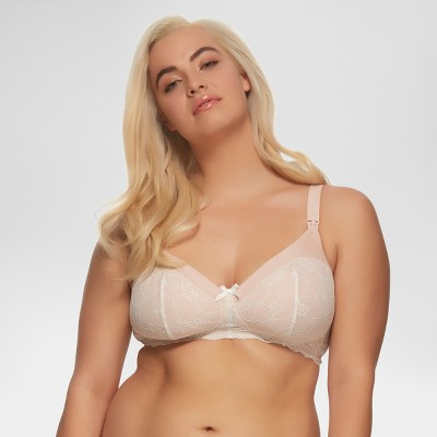 Paramour Women's Micro and Lace Wirefree Nursing Bra - Buff Beige 36D