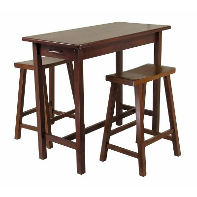 3pc Sally Dining Set with 2 Saddle Seat Stools Antique Walnut - Winsome