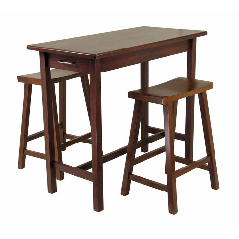 Enjoyable Sally 3Pc Breakfast Table Set With 2 Saddle Seat Stools Antique Walnut Winsome Andrewgaddart Wooden Chair Designs For Living Room Andrewgaddartcom