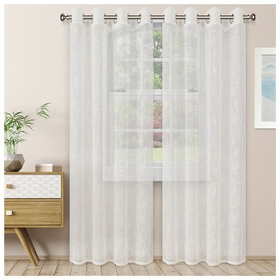 Sheer Lightweight Embroidered Scrolling 2-Piece Curtain Panel Set with Stainless Grommet Header - Blue Nile Mills
