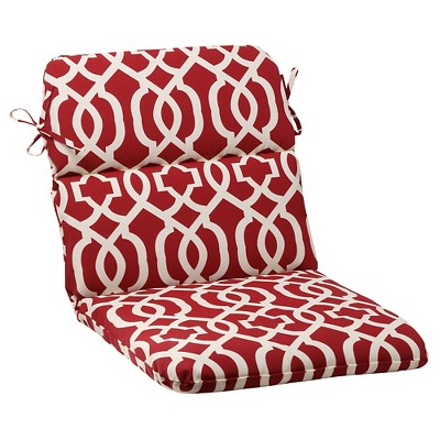 Outdoor Rounded Chair Cushion - Red/White Geometric
