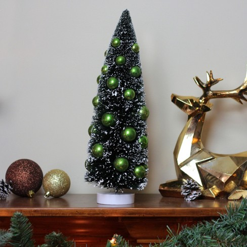 "Northlight 15"" Dark Green Sisal Christmas Tree With Green Ornaments Table Top Decoration : Target"